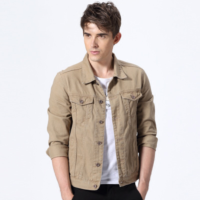 Khaki Denim Jacket Mens - JacketIn