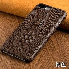 Pour xiaomi redmi 4 pro 4x 4a haute qualité de luxe véritable de couverture arrière en cuir 3d crocodile tête texture moblie téléphone retour case