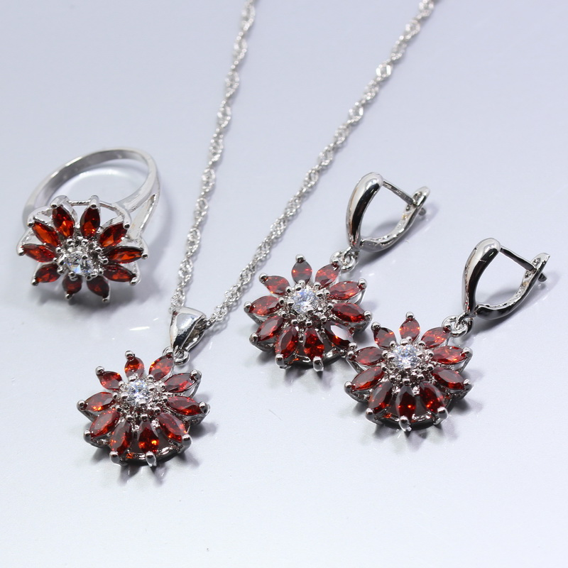 A Brillant 925 Silver Women Wedding Flower Jewelry Set Red Garnet Earring Necklace Bracelet Pendant Ring W20 In Bridal Sets From