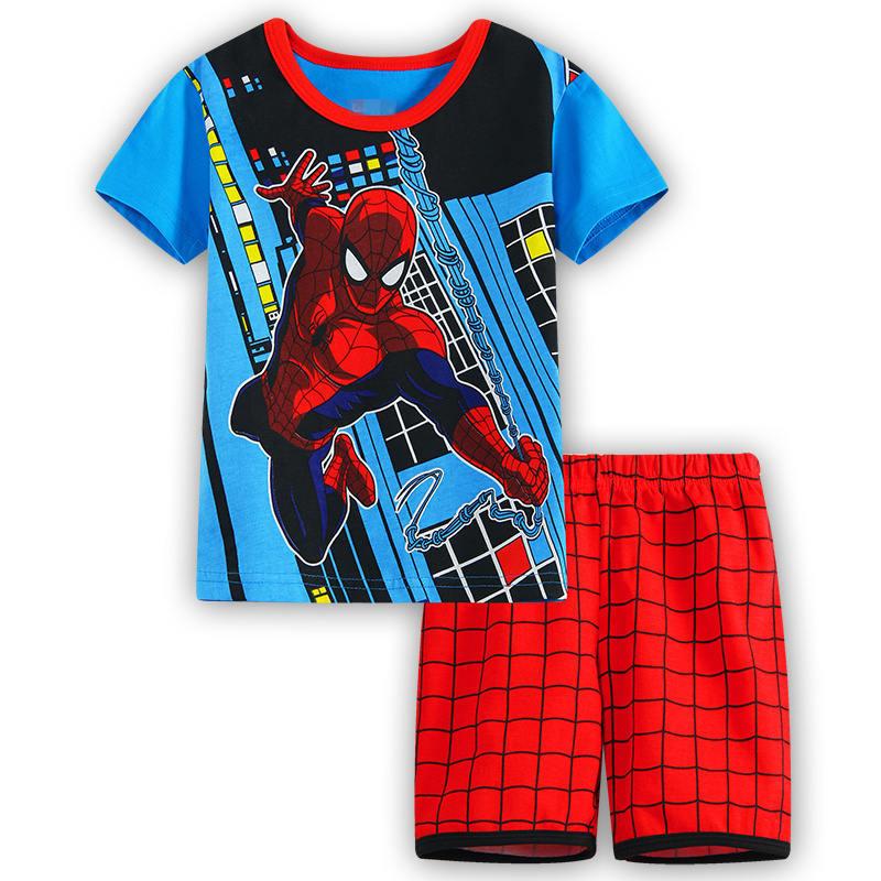 4 Kids Boys Girls Pajamas Cartoon Spider-Man Set Baby Sleepwear Cotton Superhero Costumes Shorts + Short Sleeve Tees Baby Clothing