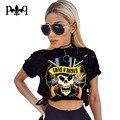 Sexy Corto de La Camiseta Para Las Mujeres Cráneo Impresión de La Camiseta Femenina de Manga Corta ahueca hacia Fuera el Top Ocasional Camisa Blusa Entallada Camiseta de Las Señoras de Femme