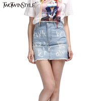 TWOTWINSTYLE Letter Print Denim Women S Pencil Skirt With High Waist Summer Mini Jeans Skirts Short