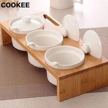Gewürzdosen Keramik Bambus Küche Anzug mit Löffel Sauce Pot Dish Anzüge Gewürz Salz Pfefferstreuer Gewürzflaschen