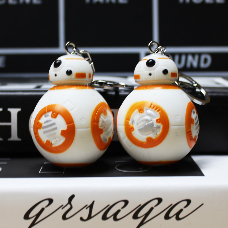 10Pcs/Lot Star Wars 7 PVC The Force Awakens BB-8 BB8 Droid Robot Figures Toy With Keychain Key Ring Pendant Great Gift 7cm