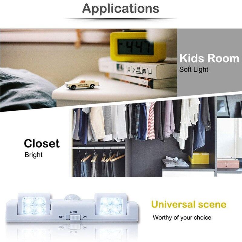 Everso AA Nightlight Lamp PIR Motion Light Sensor 5 LED Swivel Decoration Night Light Lamp for Wardrobe Home Cabinet Light