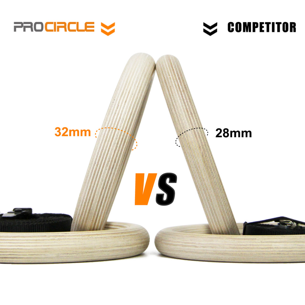Image 4 - Procircle Wood Gymnastic Rings 28/32 mm Gym Rings with Adjustable Long Buckles Straps Workout For Home Gym & Cross Fitness-in Gymnastics from Sports & Entertainment