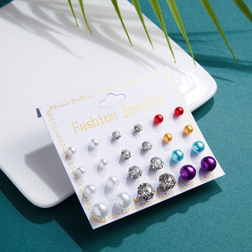 12 Pairs/set Stud Earrings Set With Card Transparent Zircon Balls Love Flowers Earrings Women Imulated Pearl Earrings Jewelry 8