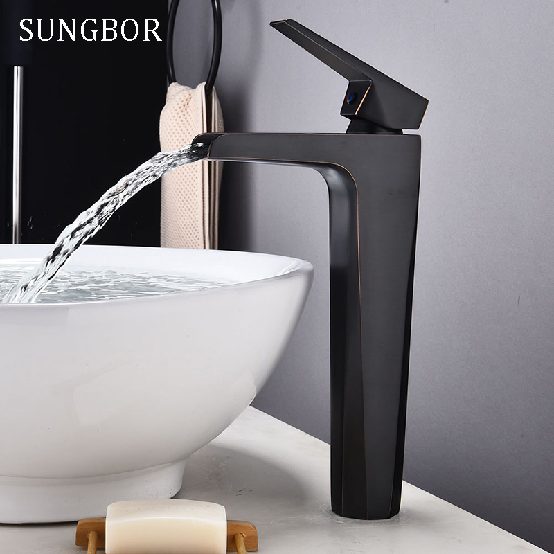 Contemporary Basin Faucet for Bathroom Black Chrome Solid Brass Basin Mixer Taps Waterfall Cold Hot Bathroom