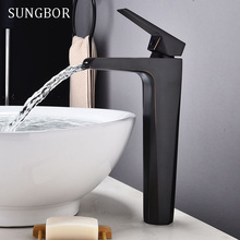 Contemporary Basin Faucet for Bathroom Black Chrome Solid Brass Basin Mixer Taps Waterfall Cold Hot Bathroom Sink Faucet FH-0430 contemporary chrome finish thermochromic led waterfall bathroom tub faucet