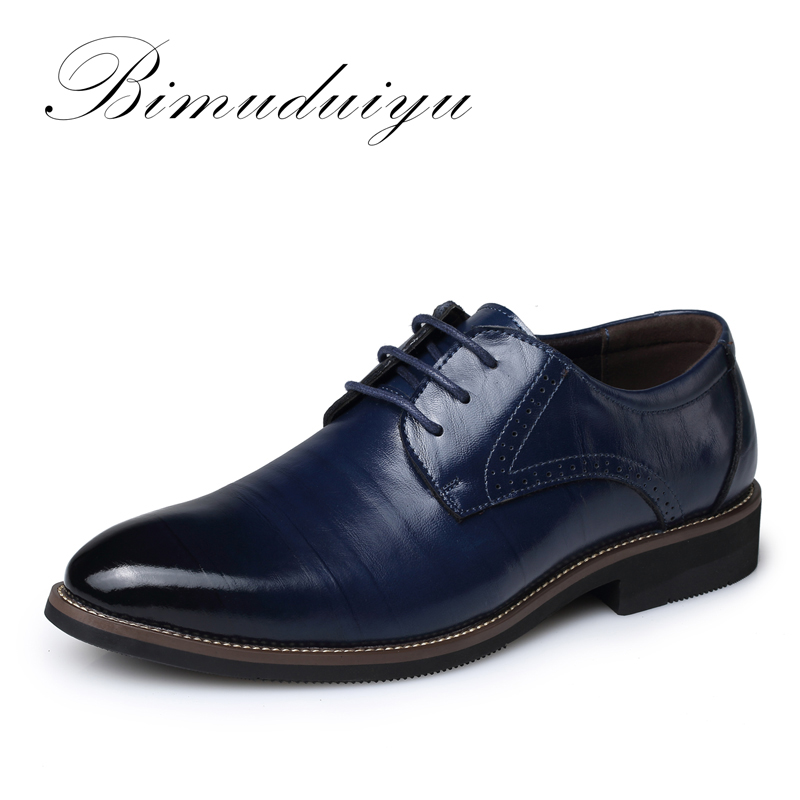 BIMUDUIYU High Quality Oxford Shoes Men Brogues Shoes Lace Up Bullock Business Dress Shoes Male Formal Shoes Plus Size 38 48