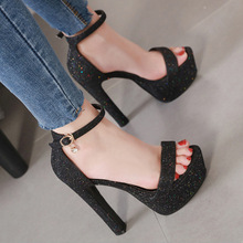 Summer Women Ankle Strap Sandals Sequined Cloth Buckle Strap 8CM High Heels Sandals Women Shoes Sexy Pumps