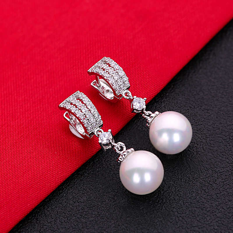 Cantik Hot Sale Putih AAA Cubic Zirconia Pearl Fashion Perhiasan 925 Sterling Silver Anting-Anting Anting-Anting HERE0050