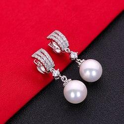 Великолепные модные ювелирные изделия из белого кубического циркония ААА, серебро 925 пробы, серьги-гвоздики HERE0050