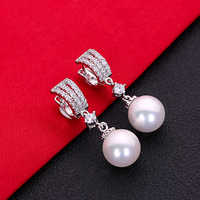 Gorgeous Hot Sale White AAA Cubic Zirconia Pearl Fashion Jewelry 925 Sterling Silver Stud Earrings HERE0050