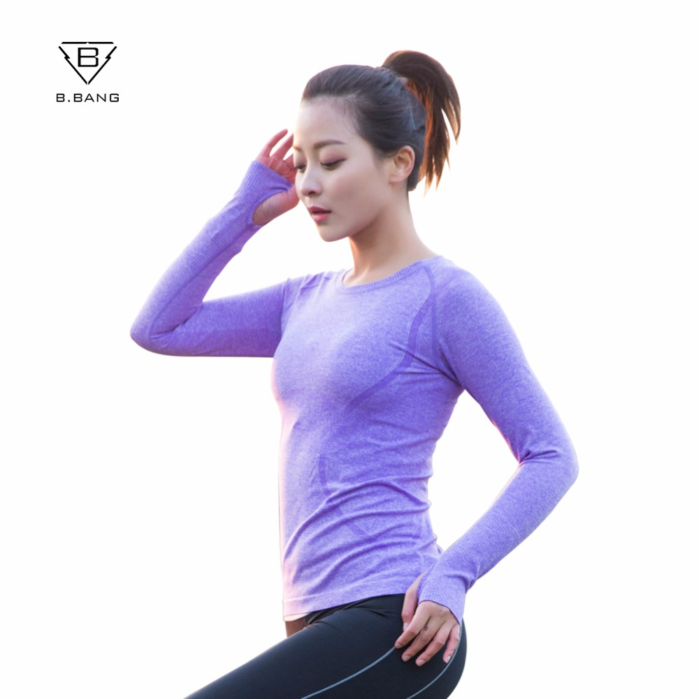 B bang yoga gym tights women 39 s long sleeves shirts tops Yoga shirts with sleeves