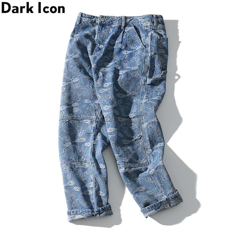 Dark Icon Bandana Jacquard Straight Jeans Men Pocket Loop Men's Jeans Denim Pants