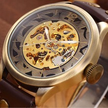 Brand Logo SHENHUA Classic Vintage Bronze Color Automatic Mechanical Montre Relojes Mens Hollow Skeleton Analog Wrist Watch