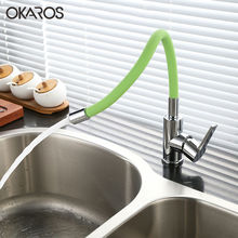 Okaros новейшие латунь Кухня кран Pull Up Пух Универсальный вращения с гибкой трубкой Chrome Термостатический Смеситель Воды