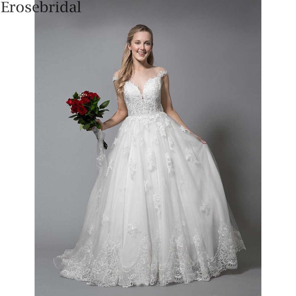 b7f88d7a4 Erosebridal Simlpe Ball Gown Wedding Dress Plus Size 2018 New Design Lace Bridal  Gown Elegant Scoop