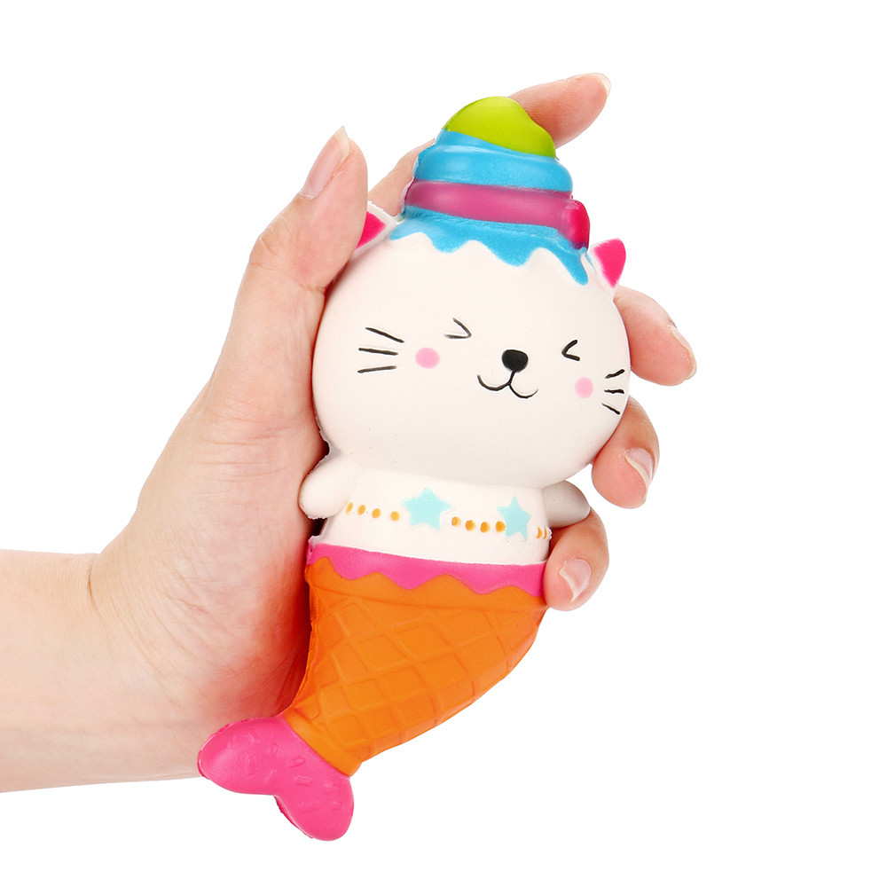 Cute Cartoon Squeeze Squishy Kawaii Decor Toys Stress Reliever Slow Rising Fun Toys For Adults Anti Stress Mermaid Cat MA06d