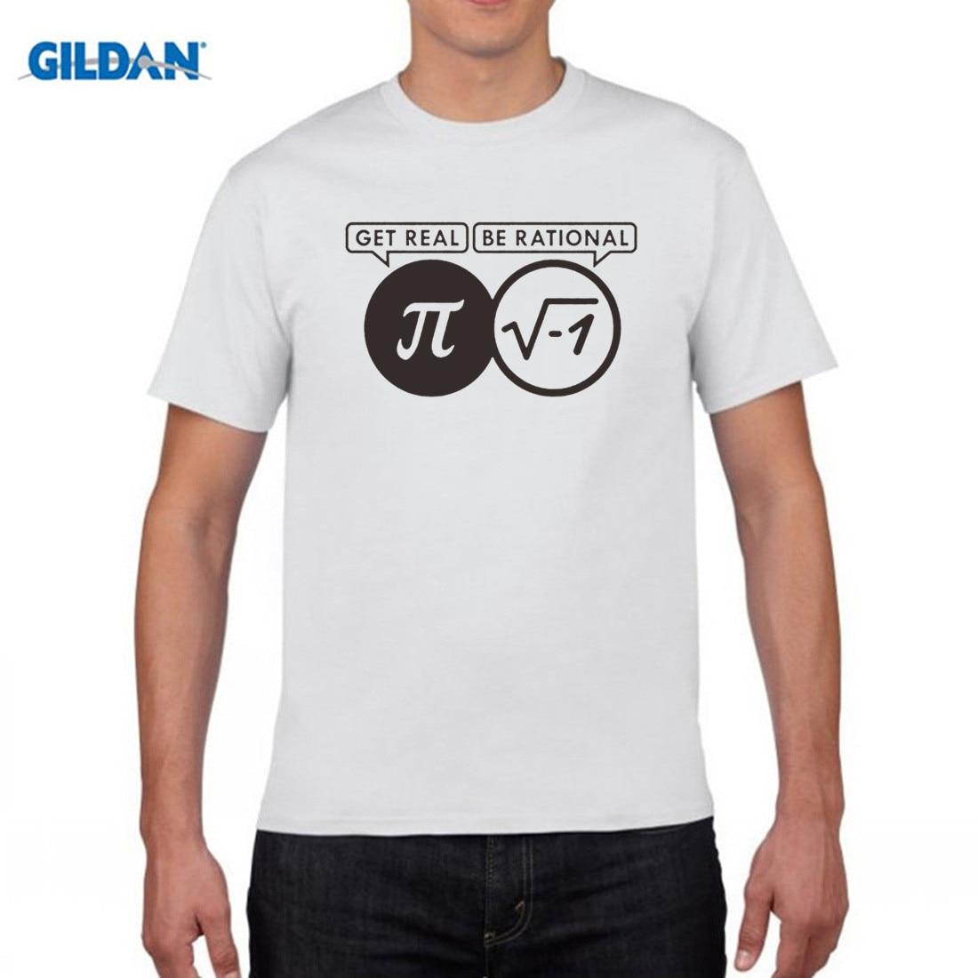 GILDAN 2017 Be Rational Get Real Nerdy Geek Pi Nerd T Shirts Men Cool Math Nerd T Shirts Fashion Funny Men T-shirts