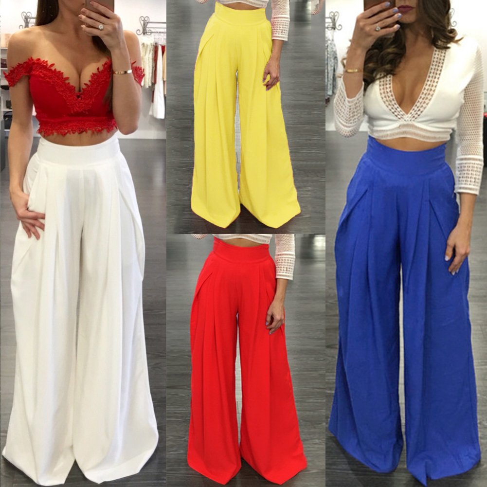 Image 5 - Women Harem Pants Solid Color High Waist Loose Wide Leg Pants Pockets Casual Palazzo Baggy Clubwear Trousers 2019 Pantalon Femme-in Pants & Capris from Women's Clothing