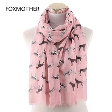 FOXMOTHER New White Pink Dalmatian Dog Scarfs Foulard Femme Bufanda Mujer Dog Scarves Women Dog Lover Gifts Mom foxmother new fashion foil sliver white pink black cat dog paw scarf for pet dog lover mother gifts women scarves 2019