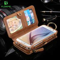 Floveme negócio carteira caso de telefone para samsung galaxy note 9 8 10 plus caso zíper couro coque para iphone xs max x caso carteira