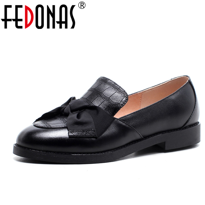 FEDONAS Spring Autumn Women Genuine Leather Loafers 2018 Fashion Flats Black Silver Shoes Woman Slip On Boat Shoes Moccasins mycolen spring autumn men flats genuine leather breathable loafers fashion slip on boat shoes british style male driving shoes