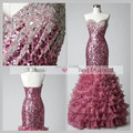 Fashion Stunning Sexy vestido de festa Sequined Lace Sweetheart Crystal Beaded abendkleider Mermaid Wine Red Prom Dresses