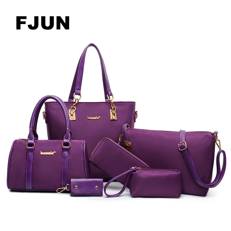 FJUN 2018 Luxury Lady Handbag 6 Pcs/set Composite Bags Set Women Shoulder Crossbody Bag Female Purse Clutch Wallet Female Bolsas trendy women s sweetheart neck sleeveless floral print knee length dress