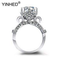 YINHED Luxury Women Lotus Flower Ring Original 925 Sterling Silver Jewelry 1 Ct CZ Zircon Engagement