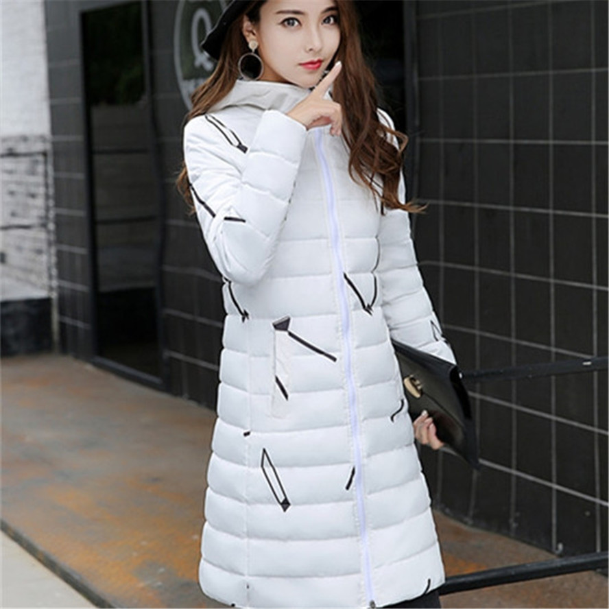 Winter Jacket Coat New Women long slim print Parka overcoat thick coat With Hat Warm Coat Hooded for girls students party 2017 new winter jacket women lovely anime printing cotton padded student parka hooded overcoat thick warm long girl s slim coat
