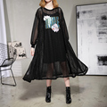 [XITAO] 2017 new spring Korea fashion women oversize embroidery long sleeve Sequin pullover female Round collar dress ATT020