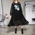 [Xitao] 2017 nova primavera da coréia do moda feminina oversize bordado de lantejoulas manga longa pulôver feminino gola redonda dress att020