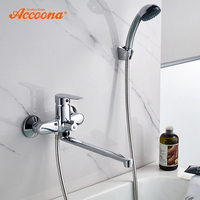 Accoona Bathtub Faucet Shower Set Bathtub Mixer Tap Single Handle Shower Wall Mounted For Bath Bathtub Faucets Long Spout A7165