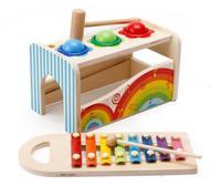 1セット木製赤ちゃんのおもちゃミュージカル活動キューブプレイセンター教育のおもちゃノックをボールnoiserメーカードロップ無料