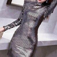 Новое женское серебристое платье с блестками, платье с длинным рукавом и сумочкой на бедрах для ночного клуба, Длинное Элегантное приталенное повседневное платье, женские платья 2