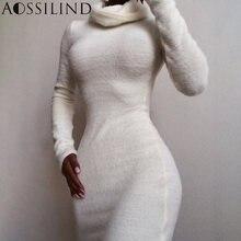 Aossilind Водолазка Осень Зима Белое Мини платье для женщин
