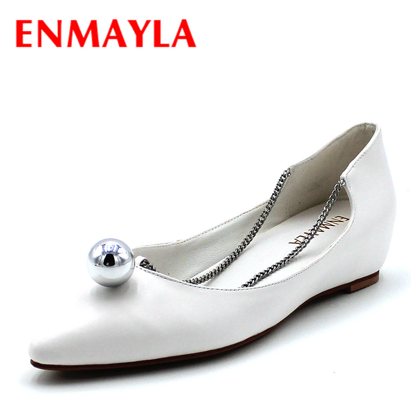 ENMAYLA Spring Summer Casual Slip on Flats Ladies Black White Shoes Sexy Pointed Toe Chain Flat