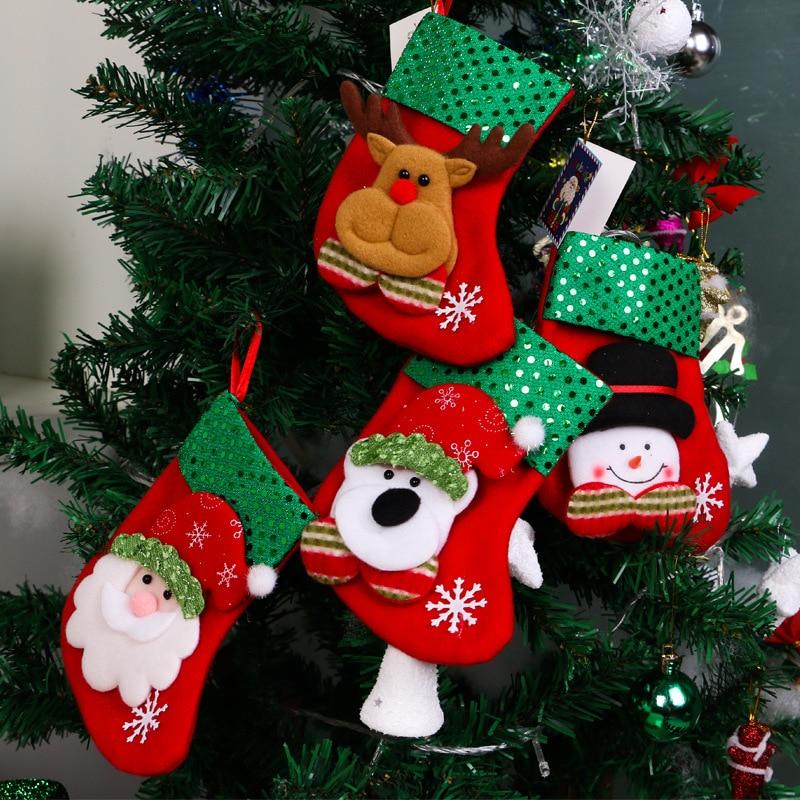 Misaya 4pcs Cartoon Christmas Tree Santa Socks Hanging Ornaments Decoration Fairy tale Christmas Festival Decoration crafts