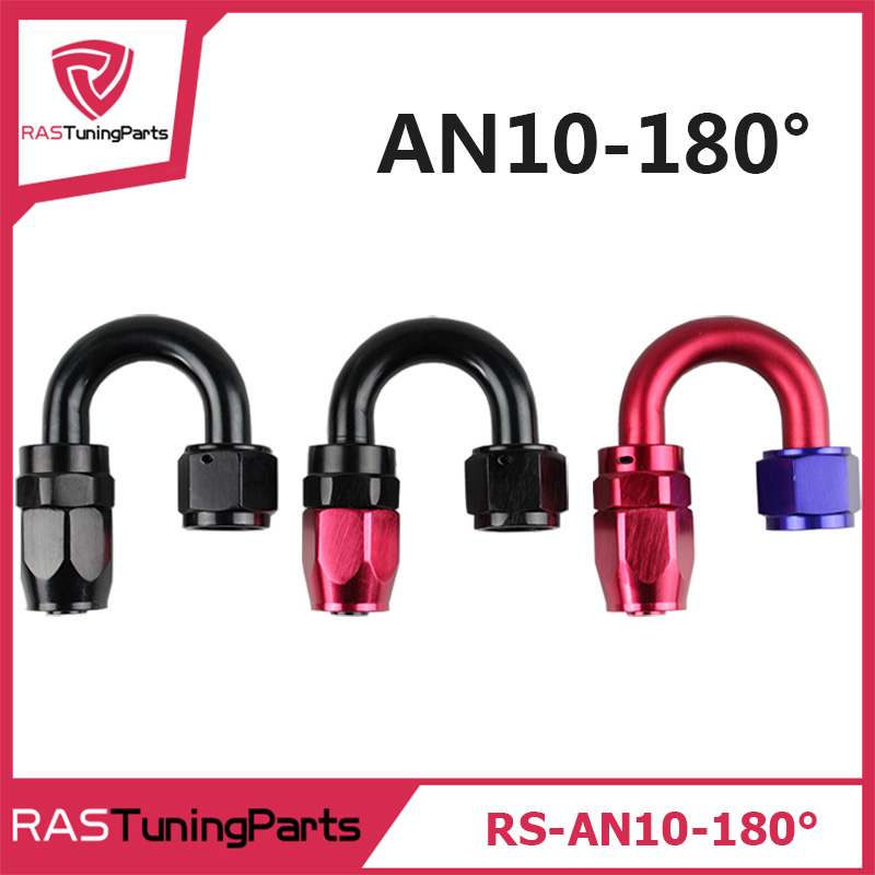 Anoized Aluminum 180 Degree Oil Fuel Swivel Fitting Hose End Male Adaptor Cooler AN10-180