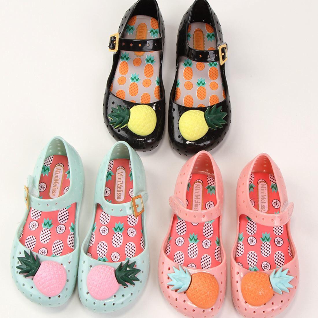 hot2018 Mini Melissa Pineapple Shoe New Summer Arrival Soft Plastic Girls Sandals Hollow Sweet Smell Kids Shoes Children