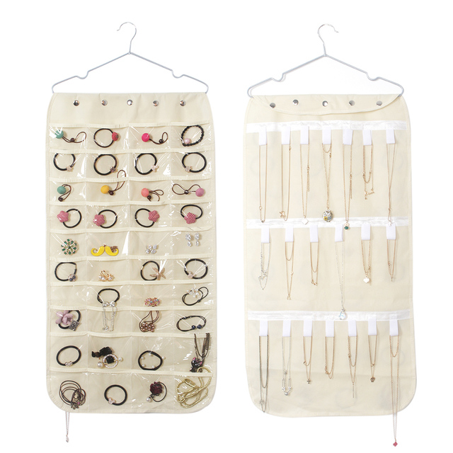 40 pockets Wall Door Closet Hanging Jewelry Organizer Necklaces