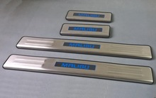 CHROME LED Blue LIGHT Illuminated DOOR SILL threshold of Scuff PLATE For Chevrolet MALIBU 2012 2013 2014