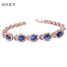 GULICX Trendy Vintage Bracele for Women Exquisite Women Chain Gold-color Blue Crystal Bangle Zirconia Bling Bracelets L113(China)