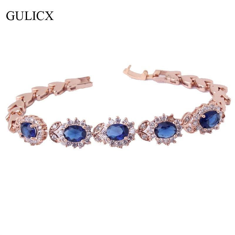 GULICX Trendy Vintage Bracele for Women Exquisite Women Chain Gold-color Blue Crystal Ba ...