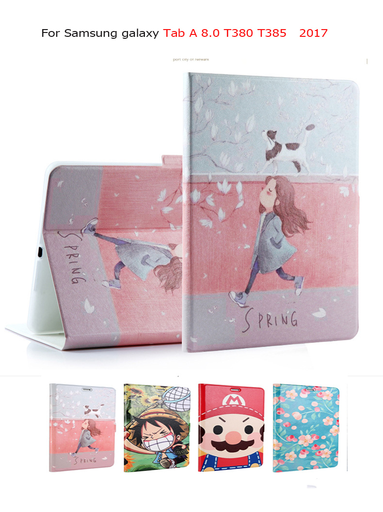 Fashion Painted PU Smart Case For Samsung Galaxy Tab A 8.0 SM-T380 T385 2017 8.0 inch Tablet Cover Funda Stand Cover Skin cartoon colorful case for samsung galaxy tab a 8 0 t380 sm t385 2017 smart cover funda tablet stand pu leather shell film pen
