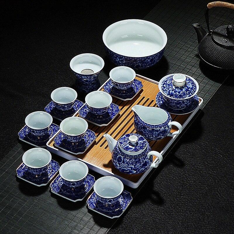 Offre spéciale jia-gui luo chinois bleu et blanc porcelaine Kung Fu thé set cuisine équipement de bureau à domicile