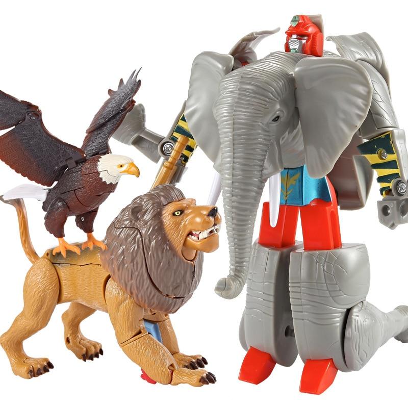 Boys Transformation Robot Zoo Tiger Lion Panda Eagle Elephant Action Figure Plastic Model Kid Adult Education Collection Toys